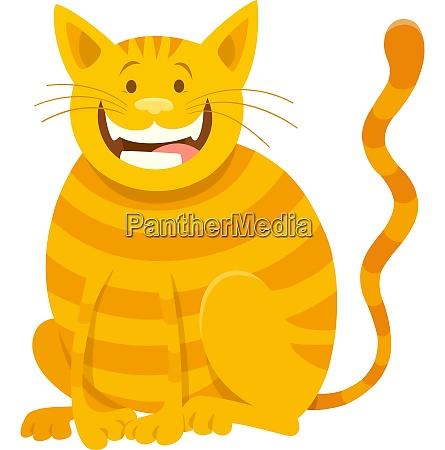 happy yellow cat cartoon animal character