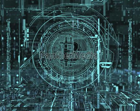 circuit board bitcoin in complex digital