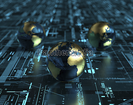 globes on digital technology grid