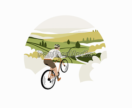 cyclist riding bike through countryside