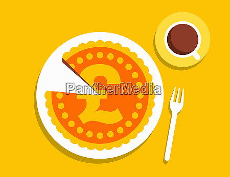 pound coin pie with slice missing