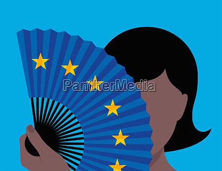 woman hiding identity behind european union