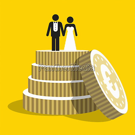 euro coins as tiers of wedding