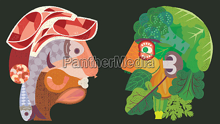 contrasting heads formed from meat and