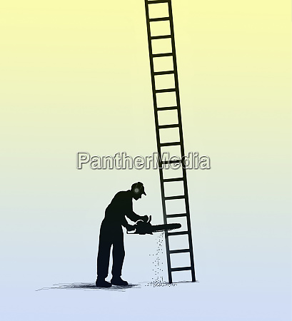 man cutting bottom of ladder with