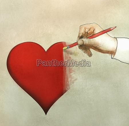hand rubbing out heart shape