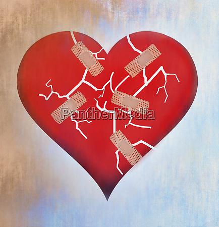 adhesive bandage mending broken heart