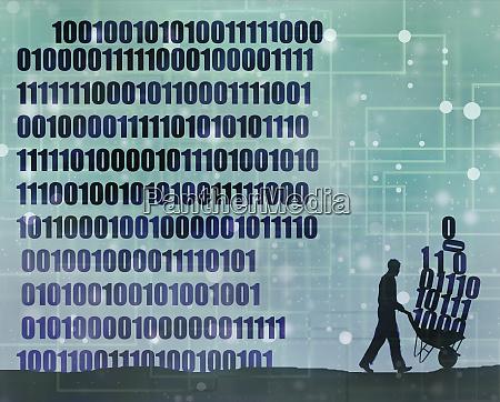 man collecting digital data in wheelbarrow