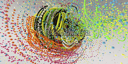 exploding strings of multi coloured beads