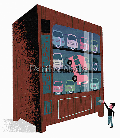 man buying car from vending machine