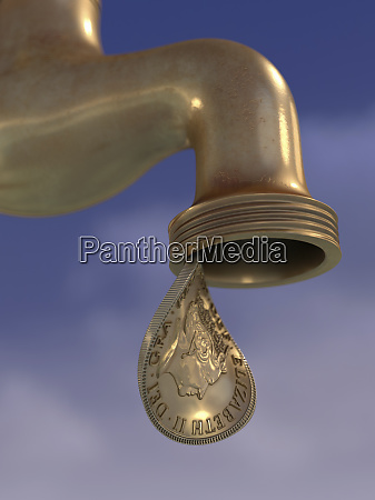 british gold coin dripping from tap