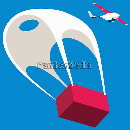 drone aeroplane dropping parcel