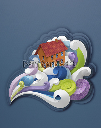 paper sculpture of house in turbulent