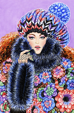 fashion model wrapped in multicoloured hat