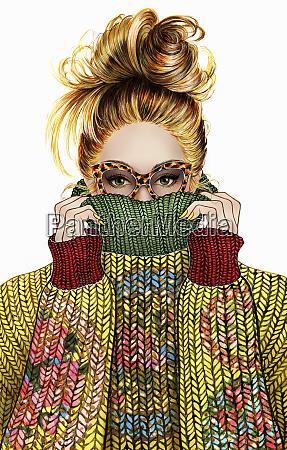 woman hiding face in collar