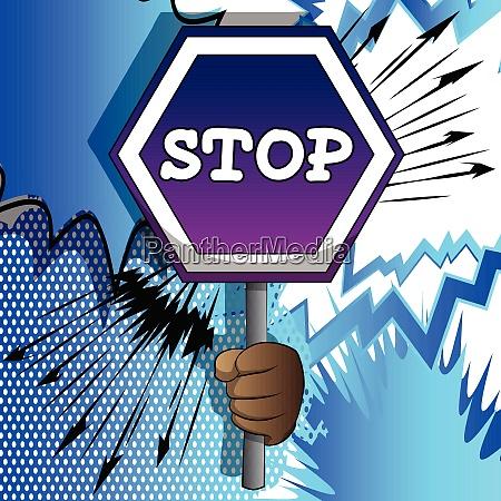 vector cartoon hand holding a stop