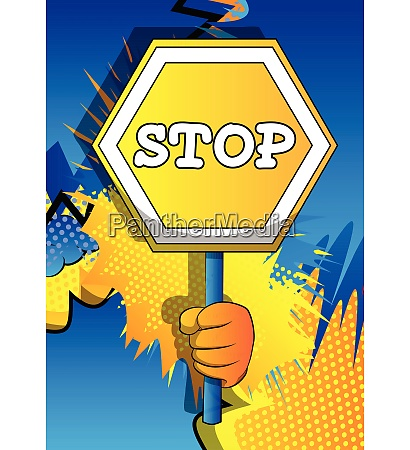 vector cartoon hand holding a stop