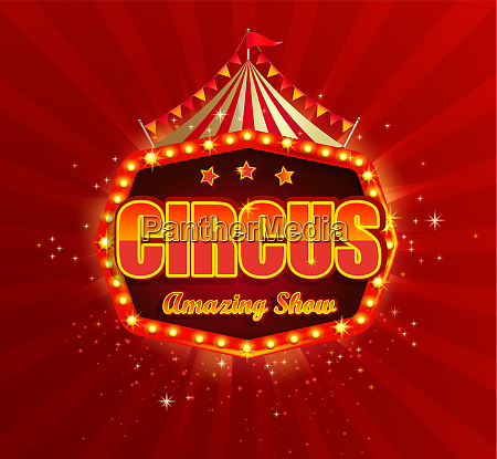 circus banner with retro light bulbs