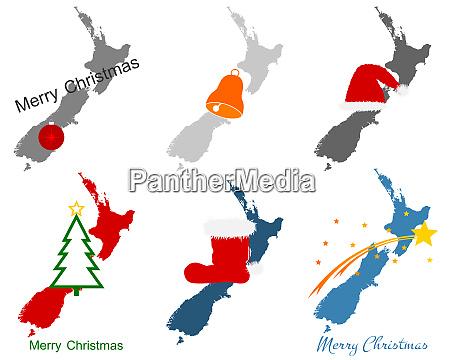 karte von neuseeland mit weihnachtssymbolen
