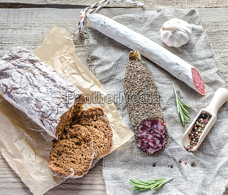slices of saucisson and spanish salami