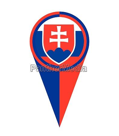 slovakia map pointer location flag