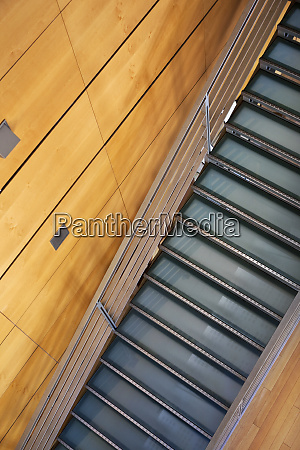 staircases and wooden wall in a