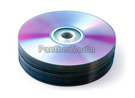 cd dvd stack isolated on white