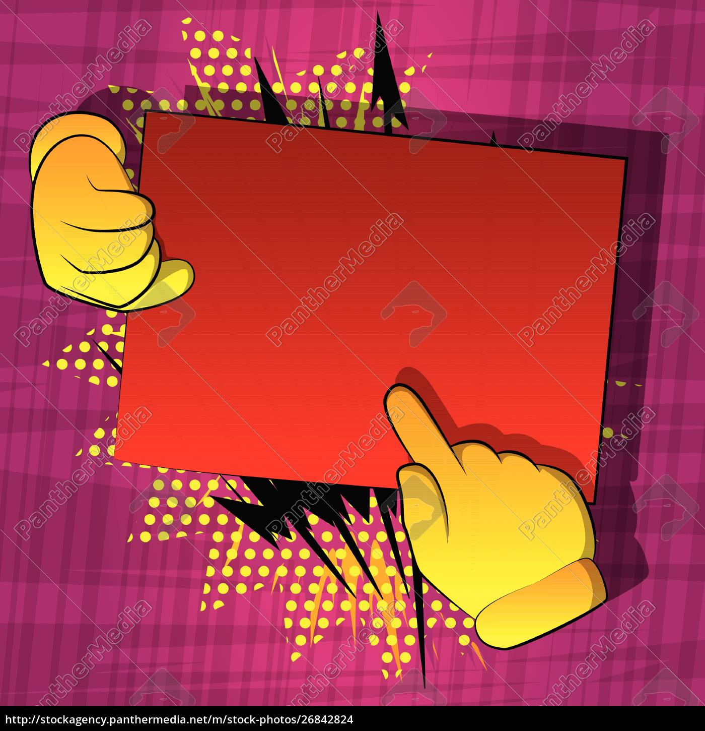 cartoon, hands, holding, paper, and, pointing - 26842824