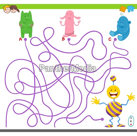 maze game with cartoon fantasy characters