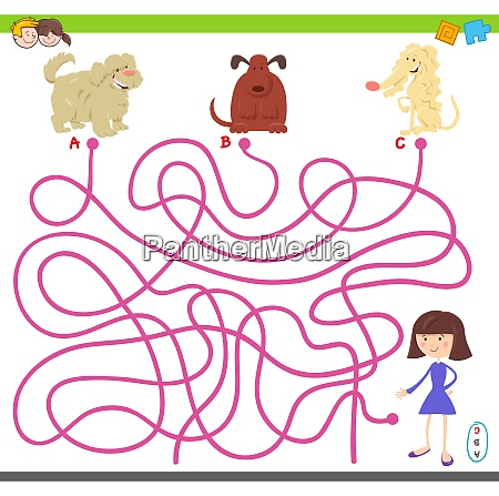 maze game with cartoon dogs and