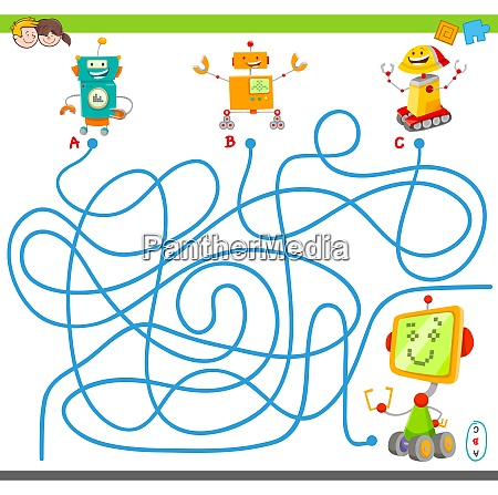 maze game with cartoon robots and