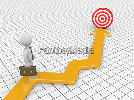 businessman is on graph with target