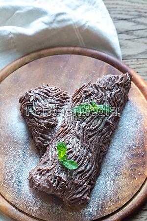 yule log on the wooden board