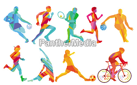 sport and play basketball footballer cycling