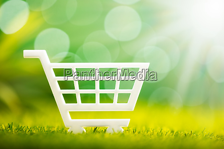 white shopping cart on grass