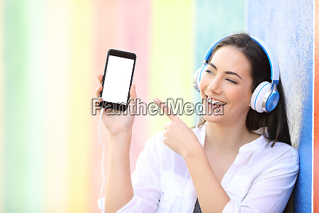 happy girl listening to music shows