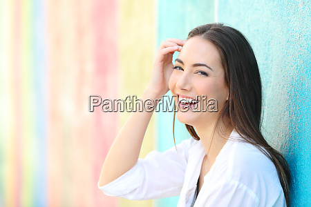 beauty happy woman in a colorful