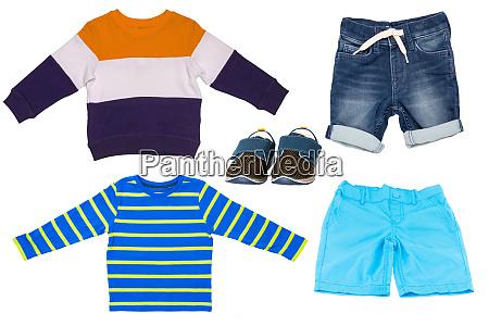 collage set of children clothes short