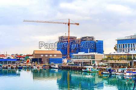 construction site boats waterfront cyprus