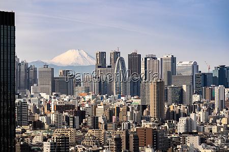 tokyo skyline and mountain fuji in