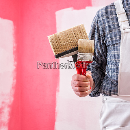 house painter worker with work tools