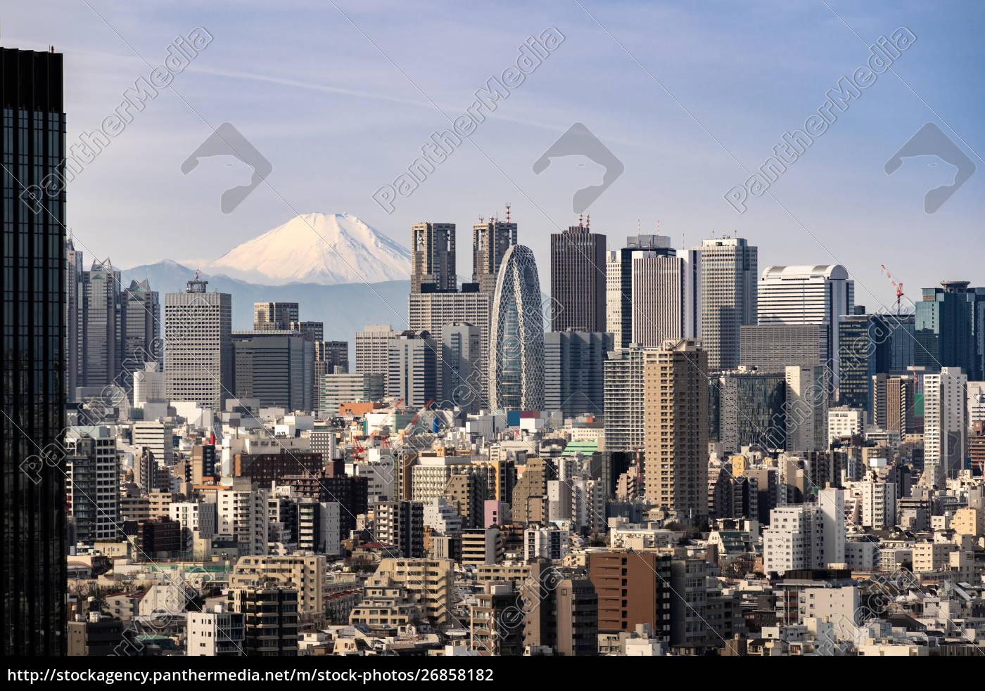 tokyo, skyline, and, mountain, fuji, in - 26858182
