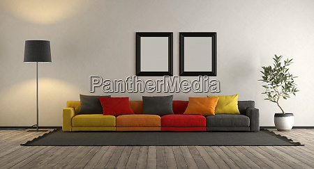 colorful sofa in a living room