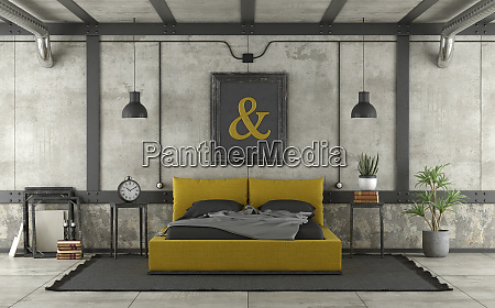 modern yellow and black bed in