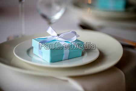light blue gift box on the