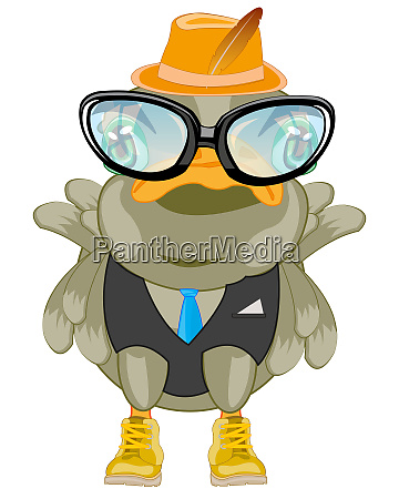 cartoon of the bird bespectacled and