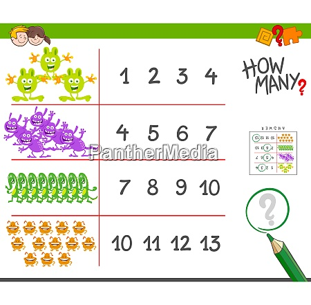 monsters counting game cartoon illustration