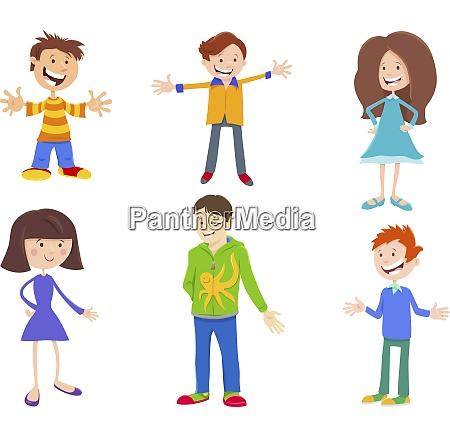 cartoon set of children and teenager