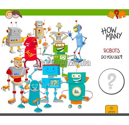 count cartoon robots educational game