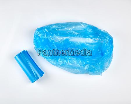 blue plastic bag for garbage on